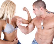 Free Showing Who S Biceps Is Stronger Stock Images - 6279924