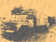 Free Retro Overfiltered Russian Old Military Car Stock Photography - 62718352