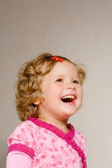 Free Small Laughing Girl In Rose Dress Stock Photo - 6282350