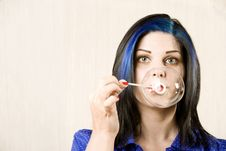 Free Pretty Woman Blowing A Bubble Royalty Free Stock Image - 6283906