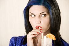 Free Pretty Woman Sipping A Cocktail Royalty Free Stock Image - 6283946