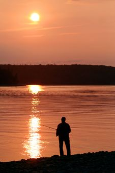 Free Fishing At Sunset Stock Image - 6284011