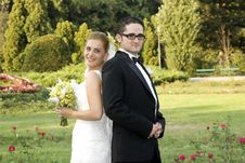 Free Bride And Groom Outdoors Stock Photography - 6286092