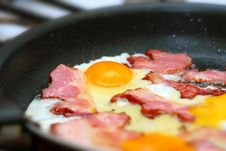 Fried Bacon With Eggs Royalty Free Stock Photo