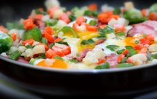 Fried Bacon With Vegetables Stock Images