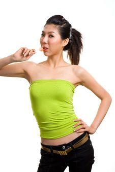 Free Young Asian Woman Having Fun With Lollipop Royalty Free Stock Image - 6288886