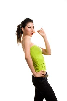 Free Young Asian Woman Having Fun With Lollipop Royalty Free Stock Images - 6288939