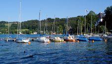 Free Yachts At A Mooring. Stock Image - 6289471