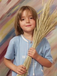 Free Little Girl With The Bouquet Of Wheat Stock Photo - 6289630