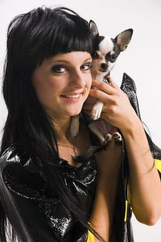 Free The Girl With A Small Dog Royalty Free Stock Photos - 6289858