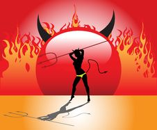 Free Devil Girl With Trident Stock Images - 6290714