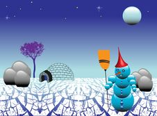 Free Snowman On Frozen Land Royalty Free Stock Image - 6290776