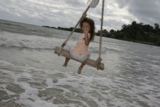 Free Girl On Swing At The Sea Stock Photos - 6290923