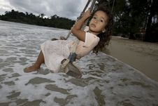 Free Girl On Swing At The Sea Royalty Free Stock Image - 6290936