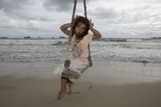 Free Girl On Swing At The Sea Stock Photo - 6290940