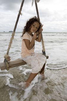 Free Girl On Swing At The Sea Stock Photo - 6290970