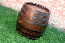 Wood Wine Barrel Stock Image
