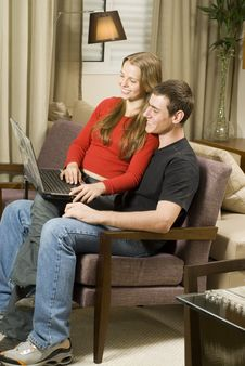 Free Couple With Laptop Stock Image - 6295241