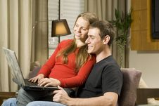 Free Couple With Laptop Stock Photos - 6295503