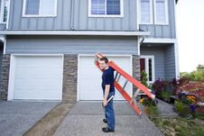 Man With Ladder Royalty Free Stock Image