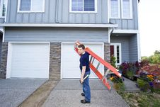 Man With Ladder Royalty Free Stock Images