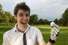Free Young Man Excited About Golf Royalty Free Stock Photography - 6295647
