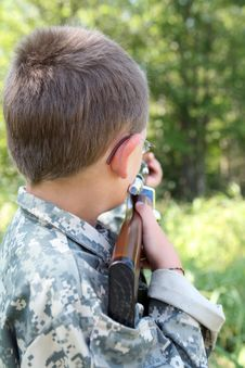 Free Young Boy Playing Soldier Stock Photos - 6296063