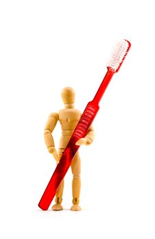 Free Arists S Wooden Mannequin With Toothbrush Royalty Free Stock Photography - 6297457
