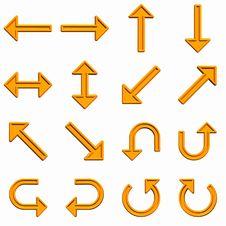 Orange Arrows Set Stock Image