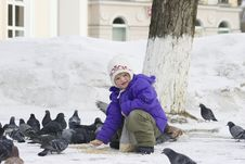 Free To Feed Pigeons. Stock Photo - 630390