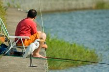 Free Heron And Fisherman Stock Photo - 633340