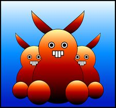 Free Scary Bunny Monster S 3 Royalty Free Stock Images - 635139