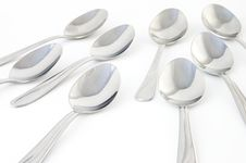Free Spoons From Front Closeup Stock Photo - 637610