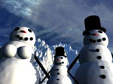 Free Snowman  19 Royalty Free Stock Photo - 637995