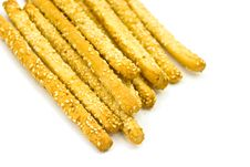 Free Many Breadsticks With Sesame - Isolated On The Whi Stock Photo - 6301280