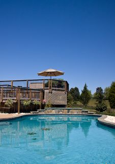 Free Swimming Pool Looking Towards A Deck Royalty Free Stock Photo - 6302185