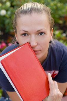 Free Woman With Red Book Royalty Free Stock Photography - 6302947