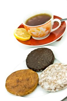 Free A Cup Of Red Tea With Mixed Cookies Stock Images - 6304124