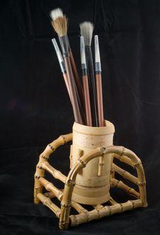 Free Brush Pens In Bamboo Pot Stock Photos - 6305913