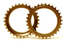 Free Golden Gears Forming Two Circles Stock Photography - 6306302
