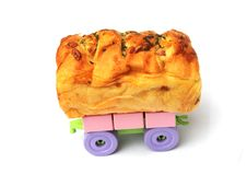 The Bread With Dried Meat  On Wheels Royalty Free Stock Images