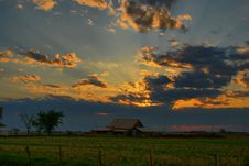 Free Beaming Sunset Over Rustic Barn Stock Photo - 6306890