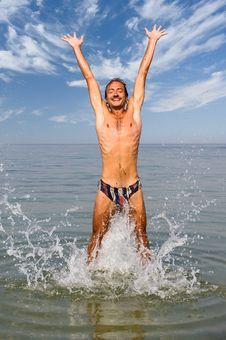Free Man Jumping In Water Stock Photos - 6307343