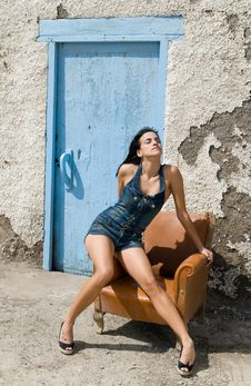 Free Sexy Woman Posing On Old House Stock Photo - 6308070