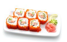 Free Japanese Cuisine - Rolls With Caviar Royalty Free Stock Image - 6308076