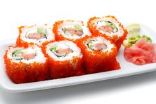 Free Japanese Cuisine - Rolls With Caviar Stock Image - 6308081