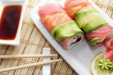 Free Japanese Cuisine - Roll With Caviar Stock Images - 6308114