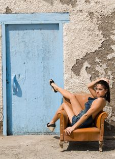 Free Sexy Woman Posing On Old House Stock Photos - 6308653