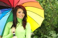 Free Sexy Woman With Colorful Umbrella Stock Photos - 6309043