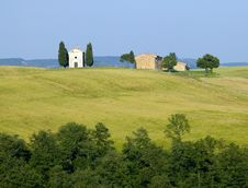 Free TUSCANY Countryside With Cypress And Farms Stock Images - 6309094